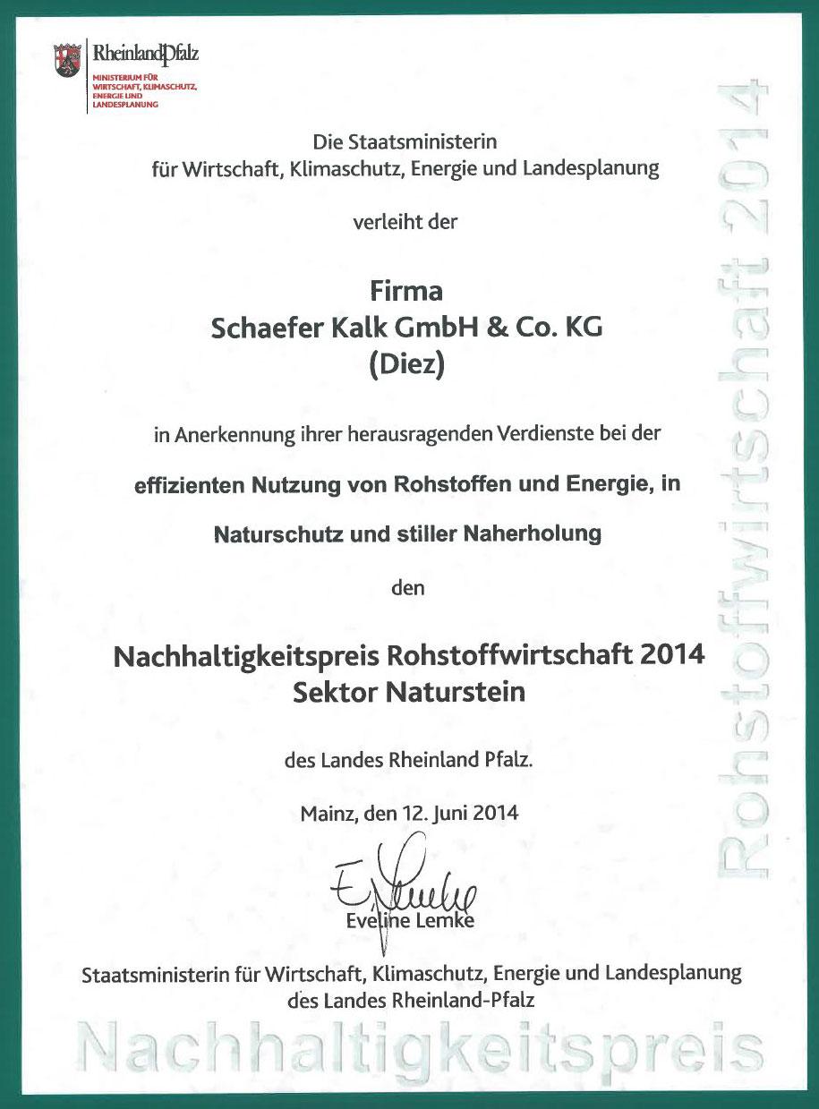 Zertifikat zum Nachhaltigkeitspreis Rohstoffwirtschaft 2014
