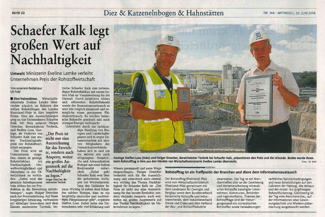 Zeitungsbericht Nachhaltigkeit Schaefer Kalk